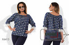 Beautiful Woman Blouse Stretch Jeans 3/4 Sleeve Off-Shoulders Casual - Plus size