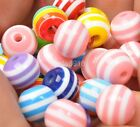 Mixed color Bubblegum Beads 30pcs 50pcs.RED WHITE BLUE Stripe Resin Spacer Beads