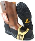 MEN'S STEEL TOE WORK BOOTS PULL ON SAFETY GENUINE LEATHER BROWN OIL RESISTANT