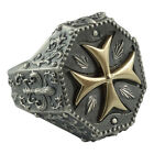 Biker Silver Gold 10 K Maltese Knights Templar Cross Men's Ring Masonic US Sizes