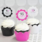 Monogrammed Sweet 15 16 Cupcake Wrappers Wraps Toppers Signs Levee Decorations