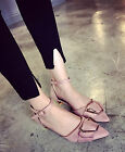 Women's Fashion Pointy Toe Buckles Bowknot Ankle Strap Block Low Heel Work Shoes
