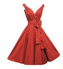 "New""Rosa Rosa""Vintage 1950s style Red Polka Dot Party Prom Swing dress""UK 8-18"