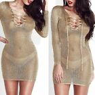 Women Khaki Long Sleeve Bandage Crochet Hollow Transparent Beach Dress
