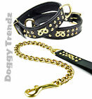 STAFFY LEATHER DOG COLLLAR AND SOLID BRASS CHAIN LEAD SET STAFFORDSHIRE STAFFIE