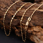 """2mm Women Men 18k Gold Plated Plain Chain Link Necklace 18""""-30'' Jewelry"""