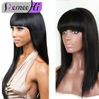 Primer Brazilian Hair Straight with  Bangs Remy Human  Front /Full Lace  Wigs