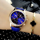 Fashion Women Rhinestone Crystal Stainless Steel Leather Quartz Wrist Watch New