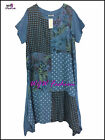 Quirky Lagenlook Italian Panel Spotted Floral Linen Dress One Size 16 - 18