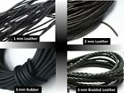 Leather  Cord 1mm, 2mm, 3mm Black Round Braided Thong Jewellery Making Diy