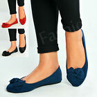 New Womens Slip On Ballerina Ladies Bow Court Pumps Flats Summer Shoes Size Uk