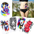 Colorful Temporary Flower Waist Arm Tattoo Sticker Lion Tiger Pattern Waterproof $0.99 USD