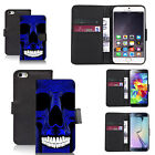 faux leather wallet case for many Mobile phones - blue skull teeth