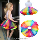 0-8 Years Rainbow Color Girls Kids Tutu Princess Petticoat Ballet Tulle Skirt
