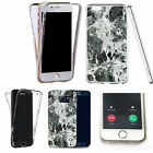 Shockproof 360° Silicone Clear Case Cover For many mobiles - marble design 337