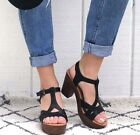 New Womens T-Strap Faux Wooden Platform Chunky Heel Sandals Sandal in Black