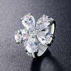 Gorgeous Wedding Ring Silver Color Cubic Zirconal Big Flower Shape For Ladies