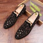 Mens Leather Rhinestones Loafers Slip On Bling Sequins Flats Party Dress Shoes