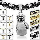 Stainless Steel Necklace King Chain Link Massive + Pendant Boxing Glove Sport