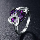 Unique Design Double Heart Wedding Ring Purple Color AAA Cubic Zirconia Jewelry