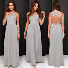 UK 6-20 Lace Backless Bridesmaid Applique Maxi Evening Party Cocktail Dress 2017
