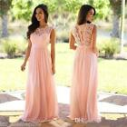 UK 6-20 Lace High Neck Bridesmaid Applique Maxi Evening Party Cocktail Dress