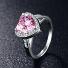 Pink Love Heart Ring Stellux Austrian Crystal Wedding Band Fashion Jewelry