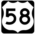 Us Route 58 Sticker R1918 Highway Sign Road Sign
