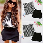 Stylish Baby Kids Girls Clothes Striped Tops Blouse Short Pant Outfits Sets 2~7Y