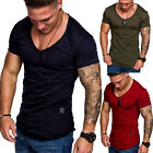 Oversize Herren Vintage Oval T-Shirt V-Neck Basic V-Ausschnitt Long Shirt 6007