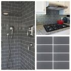 "3""x6"" Gray Crystal Glass Subway Tile For Kitchen Bathroom Shower Spa Wall"