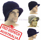 Men Boy Ladies Ribbed Ear Wamer Sports Outdoor Beanie Hat Knitted Brim Visor Cap