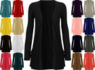 NEW LADIES LONG SLEEVE BOYFRIEND CARDIGAN POCKET OPEN TOP PLUS SIZE UK 8-26