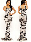 NEW WOMEN BEIGE BLACK SLEEVELESS NEWS PRINT BODYCON LONG DRESS USA SELLER 181