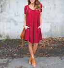 New Women Casual Dress V Neck Short Sleeve Solid Loose T-Shirt Mini Dress