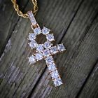 Iced Out Lab Diamond Gold Ankh Cross Pendant Necklace