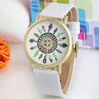 Women Watch Vintage Feather Dial Leather Band Analog Quartz Watch Casual Watch
