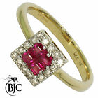 BJC® 9ct Yellow gold Ruby & Diamond cluster size N engagement dress ring  R6