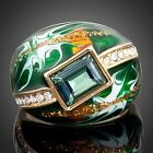 Gold Plated Green Rectangle Stellux Austrian Crystal Oil Painting Ring MJ0024