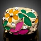 Gold Plated Flower and Butterfly Oil Painting Pattern Ring MJ0053