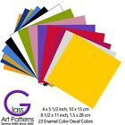 23 Solid Colors Enamel Decals for Fused Glass Ceramics Waterslide 2 Sheet Sizes