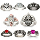 Skull 925 Silver Ruby White Topaz Women Jewelry Wedding Engagement Ring Size6-10