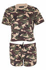 Womens Camouflage Set Ladies Army Military Camo Top Shorts Hotpant Full Set