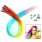 24pcs/lot Rainbow Straight Synthetic Grizzly I-Tip Hair Extensions + Beads Free