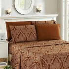 1800 Series Egyptian Paisley Printed Striped Bed Sheet Set 6