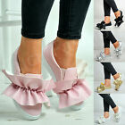 New Womens Bow Trainers Ladies Slip On Sneakers Flats Comfy Shoes Size Uk 3-8