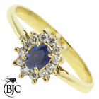 BJC® 18ct Yellow gold Sapphire & Diamond Cluster size M engagement ring R50