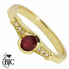 BJC® 9ct Yellow gold Ruby & Diamond Solitaire size M engagement dress ring R31