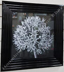 Black & white blossomed flower pictures with liquid art,crystals & black frames