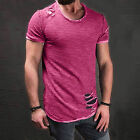 US Ripped Men Tee Shirt Slim Fit O Neck Short Sleeve Muscle Casual Tops T Shirts